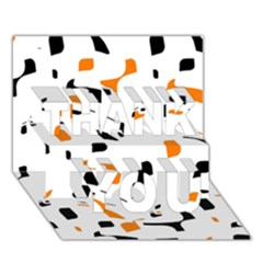 Orange, White And Black Pattern Thank You 3d Greeting Card (7x5)