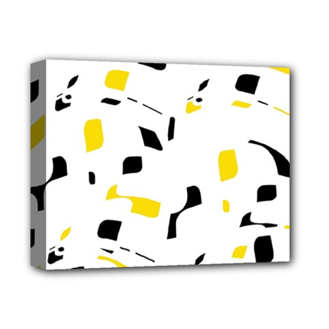 Yellow, Black And White Pattern Deluxe Canvas 14  X 11  by Valentinaart