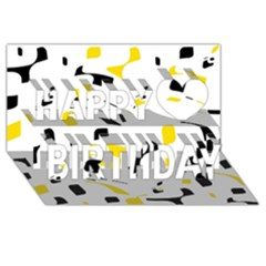 Yellow, Black And White Pattern Happy Birthday 3d Greeting Card (8x4)  by Valentinaart