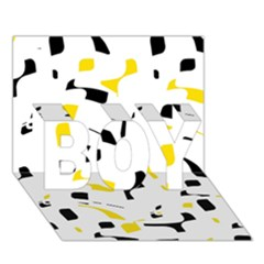 Yellow, Black And White Pattern Boy 3d Greeting Card (7x5)