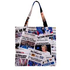 Hillary 2016 Historic Newspaper Collage Zipper Grocery Tote Bag by blueamerica