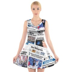 Hillary 2016 Historic Newspaper Collage V-Neck Sleeveless Skater Dress by blueamerica