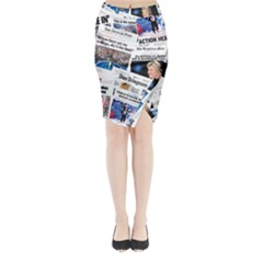 Hillary 2016 Historic Newspaper Collage Midi Wrap Pencil Skirt by blueamerica