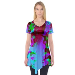Retro Abstract Colorsplash Short Sleeve Tunic