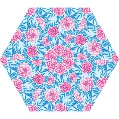 Blue & Pink Floral Mini Folding Umbrellas by TanyaDraws