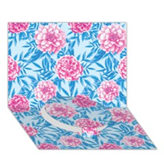 Blue & Pink Floral Circle Bottom 3d Greeting Card (7x5)