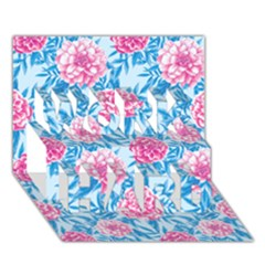 Blue & Pink Floral Work Hard 3d Greeting Card (7x5)  by TanyaDraws