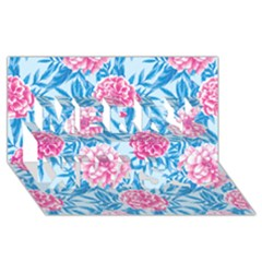 Blue & Pink Floral Merry Xmas 3d Greeting Card (8x4)