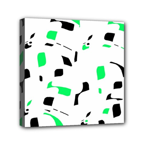 Green, black and white pattern Mini Canvas 6  x 6  by Valentinaart