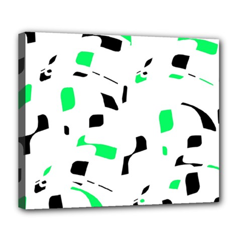 Green, Black And White Pattern Deluxe Canvas 24  X 20   by Valentinaart