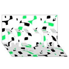 Green, Black And White Pattern Mom 3d Greeting Card (8x4) by Valentinaart