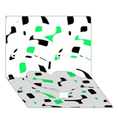 Green, Black And White Pattern Heart Bottom 3d Greeting Card (7x5) by Valentinaart