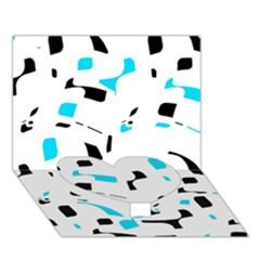 Blue, Black And White Pattern Heart Bottom 3d Greeting Card (7x5)