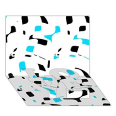 Blue, Black And White Pattern Love Bottom 3d Greeting Card (7x5) by Valentinaart