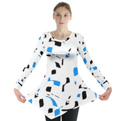 Blue, black and white pattern Long Sleeve Tunic  by Valentinaart