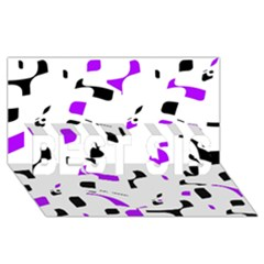 Purple, Black And White Pattern Best Sis 3d Greeting Card (8x4) by Valentinaart