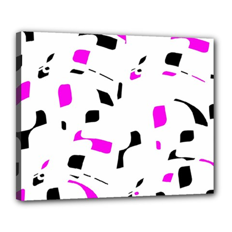 Magenta, Black And White Pattern Canvas 20  X 16  by Valentinaart