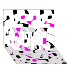 Magenta, Black And White Pattern Girl 3d Greeting Card (7x5) by Valentinaart