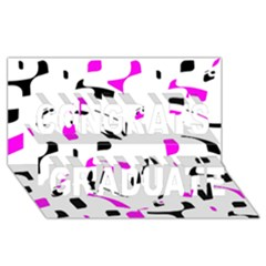 Magenta, Black And White Pattern Congrats Graduate 3d Greeting Card (8x4) by Valentinaart