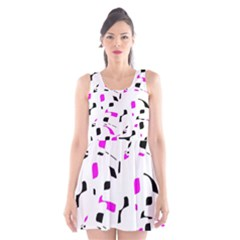 Magenta, black and white pattern Scoop Neck Skater Dress by Valentinaart