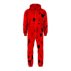 Red And Black Pattern Hooded Jumpsuit (kids) by Valentinaart