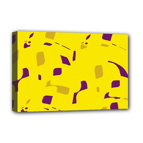 Yellow And Purple Pattern Deluxe Canvas 18  X 12   by Valentinaart
