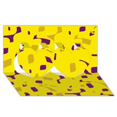 Yellow And Purple Pattern Twin Hearts 3d Greeting Card (8x4) by Valentinaart