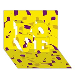 Yellow And Purple Pattern Love 3d Greeting Card (7x5) by Valentinaart