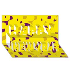 Yellow And Purple Pattern Happy New Year 3d Greeting Card (8x4) by Valentinaart
