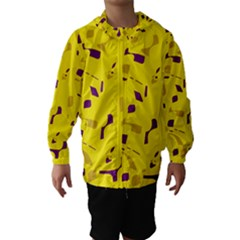 Yellow And Purple Pattern Hooded Wind Breaker (kids)