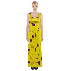 Yellow And Purple Pattern Maxi Thigh Split Dress by Valentinaart