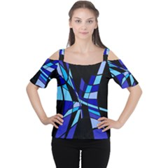 Blue Abstart Design Women s Cutout Shoulder Tee by Valentinaart