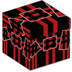 Red And Black Geometric Pattern Storage Stool 12   by Valentinaart