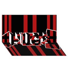 Red And Black Geometric Pattern Hugs 3d Greeting Card (8x4) by Valentinaart
