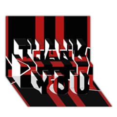 Red And Black Geometric Pattern Thank You 3d Greeting Card (7x5) by Valentinaart