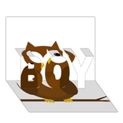 Cute Transparent Brown Owl Boy 3d Greeting Card (7x5) by Valentinaart