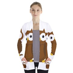 Cute Transparent Brown Owl Women s Open Front Pockets Cardigan(p194) by Valentinaart