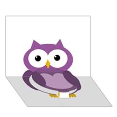 Purple Transparetn Owl Circle Bottom 3d Greeting Card (7x5) by Valentinaart
