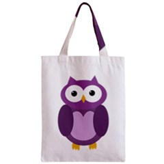Purple Transparetn Owl Zipper Classic Tote Bag by Valentinaart