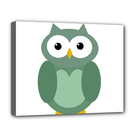 Green Cute Transparent Owl Deluxe Canvas 20  X 16   by Valentinaart
