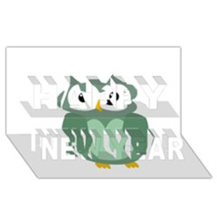Green Cute Transparent Owl Happy New Year 3d Greeting Card (8x4) by Valentinaart