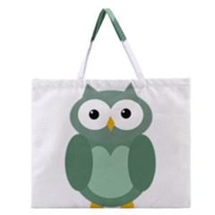 Green Cute Transparent Owl Zipper Large Tote Bag by Valentinaart