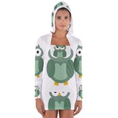 Green Cute Transparent Owl Women s Long Sleeve Hooded T Shirt by Valentinaart