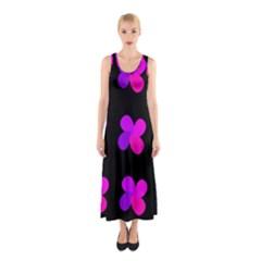 Purple flowers Sleeveless Maxi Dress by Valentinaart