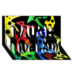 Colorful Abstract Pattern Laugh Live Love 3d Greeting Card (8x4)