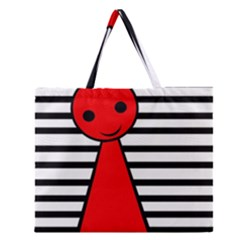 Red Pawn Zipper Large Tote Bag by Valentinaart
