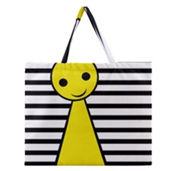 Yellow Pawn Zipper Large Tote Bag by Valentinaart