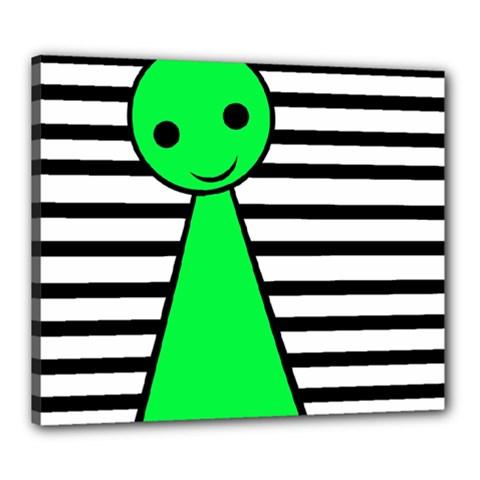 Green Pawn Canvas 24  X 20  by Valentinaart