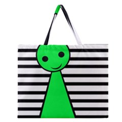 Green Pawn Zipper Large Tote Bag by Valentinaart