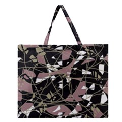 Artistic Abstract Pattern Zipper Large Tote Bag by Valentinaart